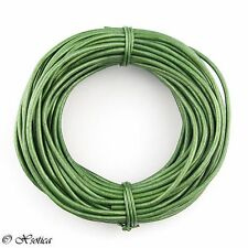 Green Metallic Round Leather Cord 2mm 25 meters (27.34 yards)