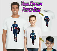 Personalised Captain America T-Shirt, Add Photo Marvel Gift Kids Adults Tee Top