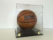 Basketball display case acrylic 2 tier base gold risers contour base NBA NCAA