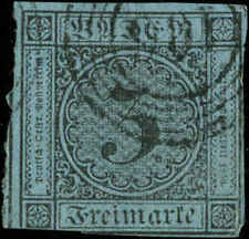"German States, Baden Scott #8 Used  ""106"" in 5-Ring Numerical Postmark"