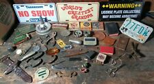 Junk drawer lot of vintage military license plates gun parts tools & 8mm films