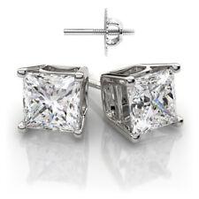 Fascinating 1.00 CTW Princess Diamond Earrings Set 14K White Gold GIA certified