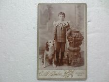 RARE BOY WITH DOG & MARKHAM OR DAISY BB GUN PLYMOUTH MICHIGAN E.P.BAKER PHOTO