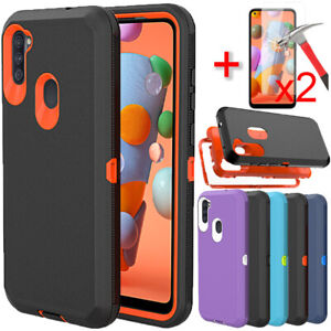 For Samsung Galaxy A11 A21 Case Heavy Duty Hybrid Cover + Glass Screen Protector