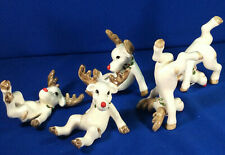 Fitz & Floyd 1976 Tumbling Reindeer Complete Vtg xmas Figurines 5 set/lot rare