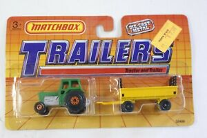 Matchbox Trailers Green Ford Tractor and Light Yellow Hay Trailer on Card