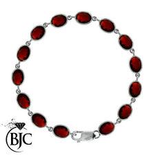 Pulseras de joyería con gemas rojo de plata de ley