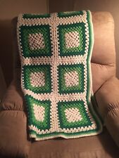 Vtg Bright Granny Square Crocheted Scalloped Afghan Green Primary Throw Blanket