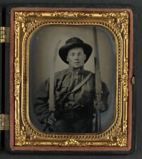 American Civil War Confederate South Soldier Bowie Knife 5x5 Inch Reprint Photo