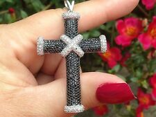 Gem Treasures Sterling Silver Black Spinel & White Zircon Cross Pendant   AS IS