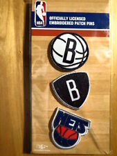 Official Licensed NBA Brooklyn Nets Embroidered Patch Pin Set