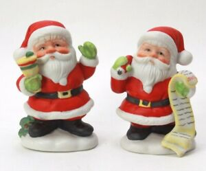 Christmas Tree Ornament Ceramic Hand Painted Santa List LOT Hallmark