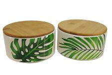 Vorratsdose Insa Keramik Holz weiß grün Blätter Palme mit Holzdeckel (1 Stück)
