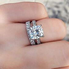 Real 10K White Cold 2.50 Ct Diamond Cushion Cut Engagement Ring Bridal Set