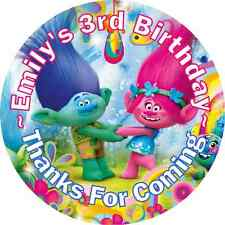 POPPY TROLLS BIRTHDAY PERSONALIZED ROUND PARTY STICKERS FAVORS ~VARIOUS SIZES