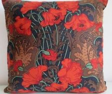 Liberty Vintage Rare Clementina Red Cotton & Black Velvet Fabric Cushion Cover