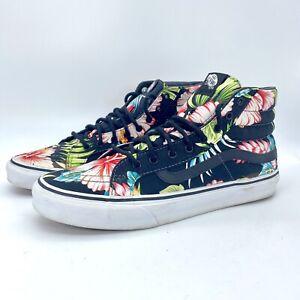 Vans Off The Wall High Top Tropical Floral Sk8er Shoes Men Sz 9, Women Sz 10.5