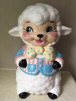 "11"" CERAMIC Sheep Lamb FIGURINE Alberta Molds 1967 Easter EXCELLENT Vintage"