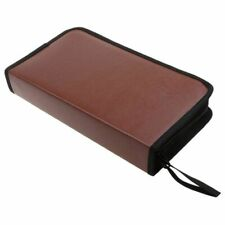 80-Discs Portable Leather Storage Bag Zippered Storage Case for CD DVD Hard M1F3