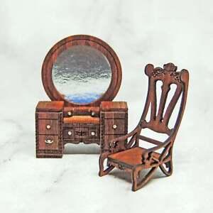 1:48 Waterfall Vanity & Chair- Art Deco Dollhouse Miniature- Quarter Scale