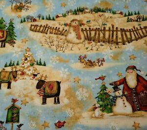 "24"" Santa's Journey Debi Hron SPX Fabrics Christmas Scene Snowman Reindeer Tree"