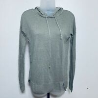 Tahari Hooded Top Size S 100% Linen Shirt Long Sleeve Trendy Cute Green