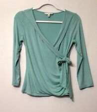 CAbi faux wrap knit top womens size small