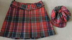Next Wool Tartan Skirt And Matching Baker Boy Hat