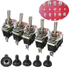 5pc Heavy Duty 15A 250V SPST 2 Pin ON/OFF Rocker Toggle Switch Waterproof Boot