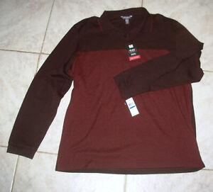 XL Mens Van Heusen Long Sleeve Polo Flex Shirt nat stretch Classic Fit Burgundy