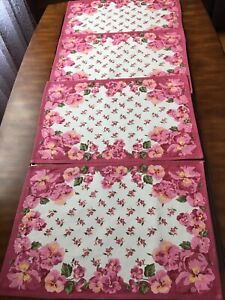 """SET Of 4 APRIL CORNELL PLACEMATS  PINK Pansies 19""""x13"""""""