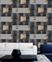 Vintage Asian/Oriental Loft 3d Textured Wallpaper Iron blue/Bronze/Black/Silve