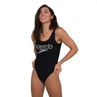 SPEEDO WOMENS SWIMSUIT.NEW HIGH LEG DEEP U BACK BLACK CHECK SWIMMING COSTUME W20