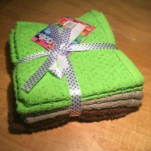 "6 Pack Multi Color WashCloth 100% Cotton, 12"" X 12"" Dry Fast, 2 Pieces Per Color"
