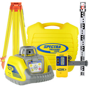 Indoor & Outdoor Rotary Laser Level Kit: Spectra HV101 + Detector Tripod & Staff