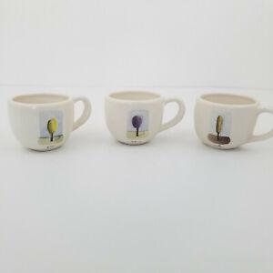 Pottery Barn Tea Garden by Rae Dunn Set 3 Mugs Believe Grow Create