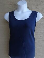 Roaman's Denim 24/7 Ribbed Cotton Scoop Neck Tank Top 1X 22-24W Navy