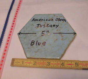 "1 pc.  *Blue Hexagon*  Ceramic 5"" Tiles; Tuscany Glaze; American Olean 4-3/8"""