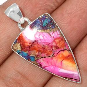 Kingman Pink Dahlia Turquoise 925 Sterling Silver Pendant Jewelry BP83243