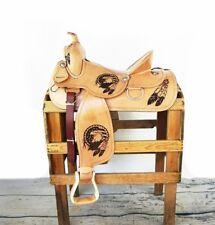 "16"" Hard seat Usa Western Barrel Trail Rodeo Show Horse Tack Leather Saddle"