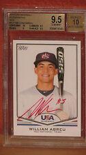 2011 Topps USA Baseball William Abreu Red Autograph Card BGS 9.5 Auto 10.