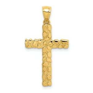 14k Yellow Gold Nugget Cross Religious Pendant Charm Necklace Latin Fancy Fine