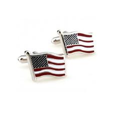 USA American Flag Stainless Steel Cuff Links Dress Shirt Cufflinks
