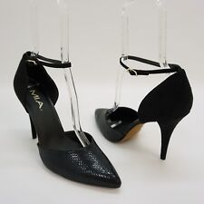 MIA Shoe Bennett Ankle Strap Pump Two Piece High Heel Black Snake Print 10m