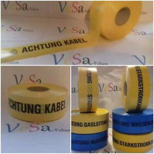 Trassenwarnband -gelb-blau-25m-50m-250m/80 mm breit !- Verschiedene Texte und Fa