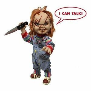 """Child's Play 15"""" Scarred TALKING CHUCKY Mega figure with sound MEZCO DAMAGED BOX"""