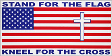 "Stand For The Flag Kneel For The Cross USA Flag Vinyl Bumper Sticker 3.75""x7.5"""