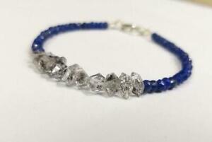 "Fantastic Lapis+Herkimer Diamond Quartz Gemstone Beaded Bracelet Jewellery L-7"""