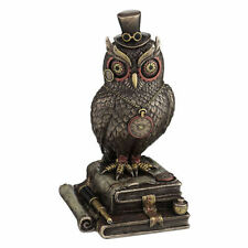 Steampunk Owl with Top Hat standing on top of books home decor figure statue