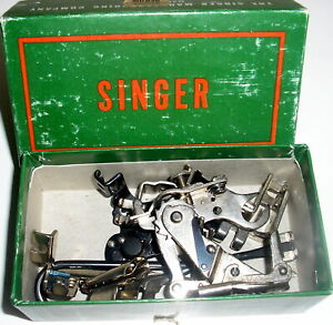 Vintage Singer Sewing Machine Attachments Accessories Feet+ in Box